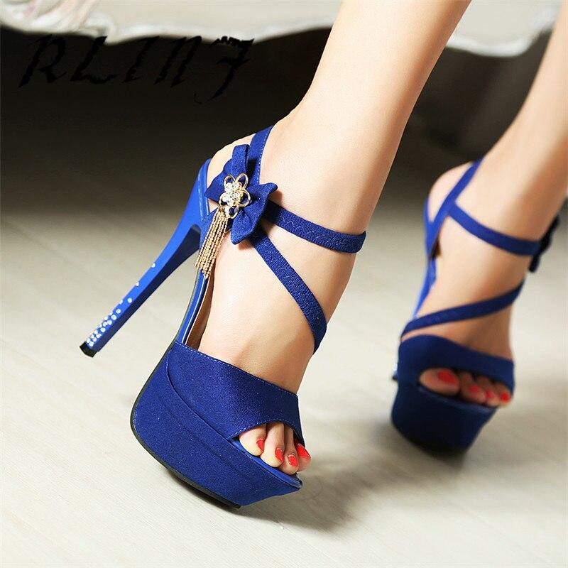 Chaussures Stiletto Nouveau De bleu Courroie Haute Talon Poissons Bouche 14 Noir Cm Super Rlinf Femmes 5 Strass Sexy 8Pgdxgq6