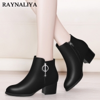 Designer Women Winter Ankle Boots Female Sexy Square High Heel Autumn Sheepskin Boots Round Toe Ladies Shoes YG A0010