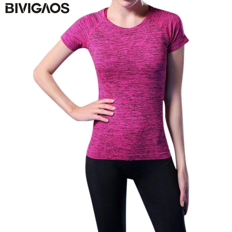 BIVIGAOS Workout Clothes Women High Elastic Spring Summer Short-Sleeved T-shirt Aerobics Clothes T Shirt Women Tops Blusas Women