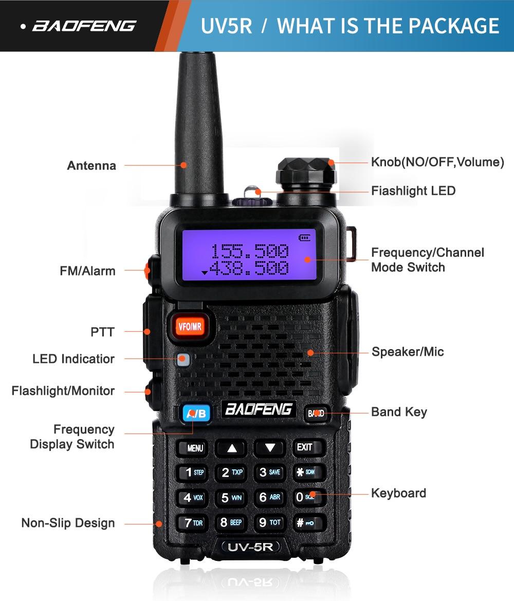 BaoFeng портативная рация UV-5R с подкладкой cb радио Обновление версии baofeng uv5r 128CH 5 W УКВ 136-174 МГц и 400-520 МГц
