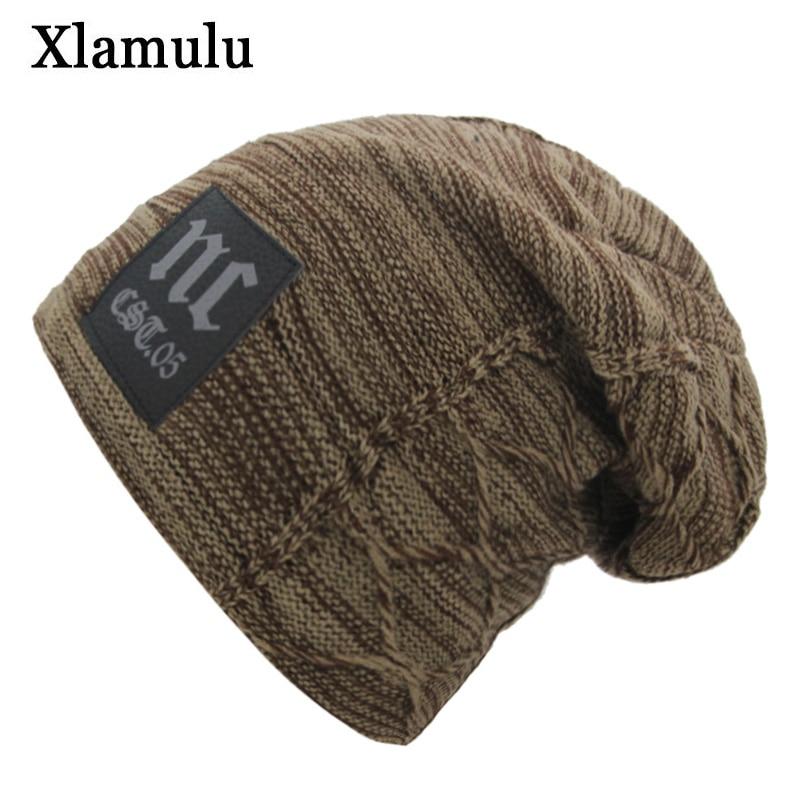 Xlamulu   Skullies     Beanies   Knitted Hat Winter Hats For Men Women Mask   Beanie   Warm Baggy Soft Thick Gorros Bonnet Letter NC Hat Cap