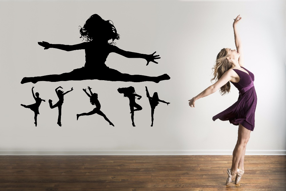 Dancing Girl Silhouette Wall Sticker Beauty Fashion Decoration For Girls Room Gymnastics Home Decor Art Mural W554 in Wall Stickers from Home Garden