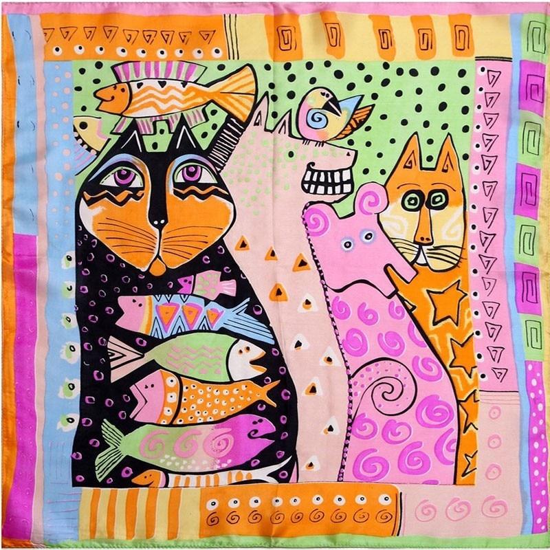Cat Design 100% Silk Scarves Various Designs