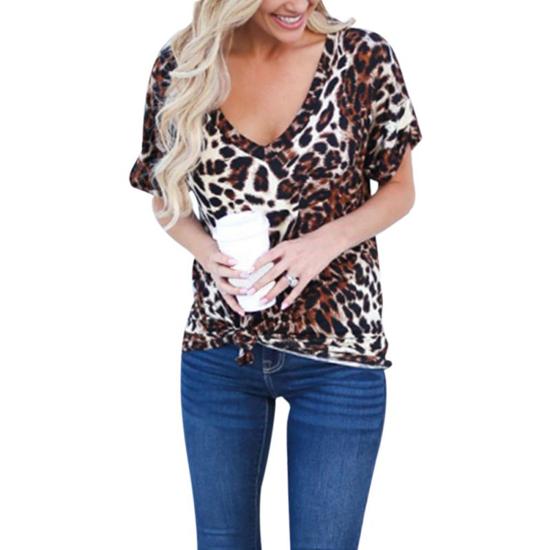 Summer <font><b>T</b></font>-shirt Women <font><b>Sexy</b></font> Chiffon Leopard Print Chiffon V-neck Loose <font><b>T</b></font>-shirt Short Sleeve Casual Wild Bottoming Tops <font><b>haut</b></font> <font><b>femme</b></font> image