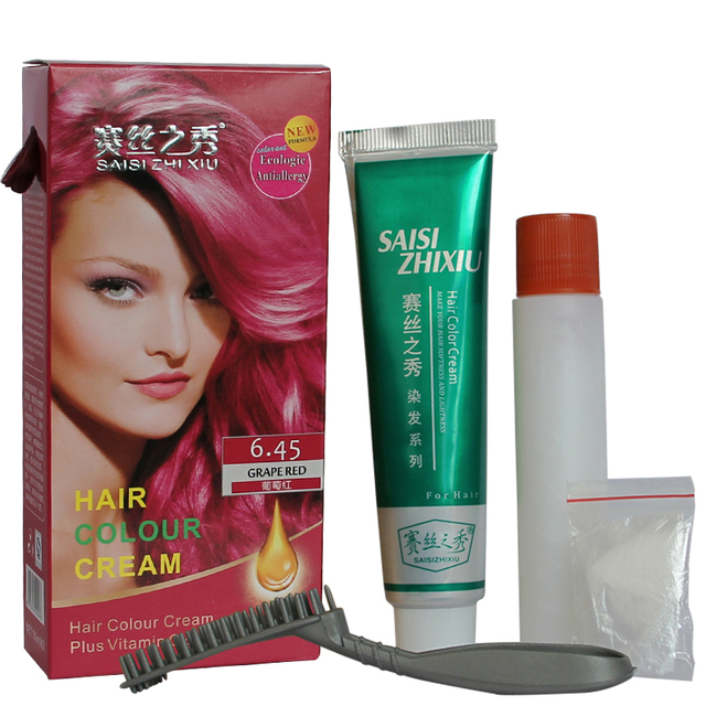 Fashion Grape Red Hair Dye Non Allergic Hair Colour Cream Permanent