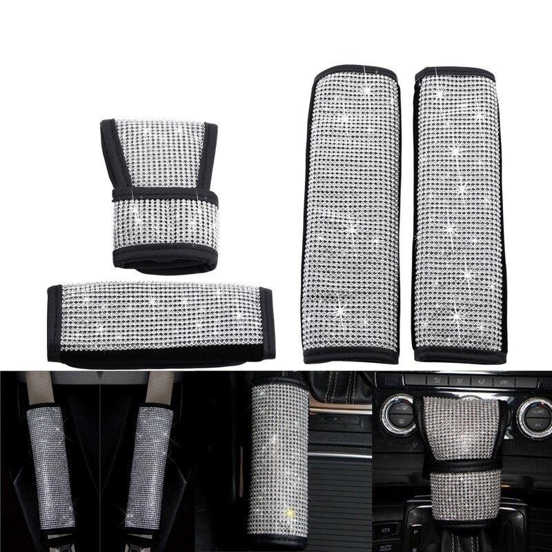 Universal Full Diamond Crystal Auto Handbrake Cover  Gear Shift Stick Cover Seat Belt Cover Car Styling Interior Decoration