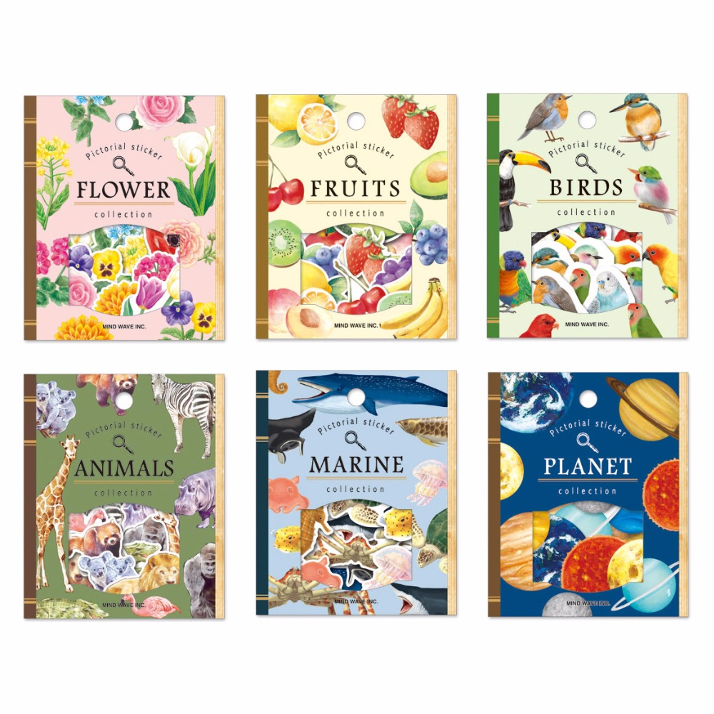 Scrapbook paper and stickers - 30pcs Pack Japan Style Planet Fruits Birds Diy Cartoon Scrapbook Paper Diary Stickers Decoration Stationery