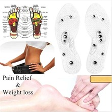 New Men and Women Magnetic Therapy Foot Weight Loss patch Insole Transparent Silicone Anti-fatigue acupuncture Massage Slimming(China)