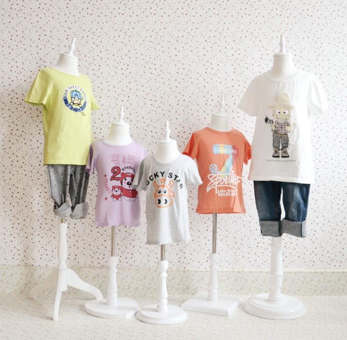 3-4 Year-old Children's Half-style Models Props, Child Clothing White Cotton Fabric Wood Disc Base 1PC Woman Pet Mannequin,B502