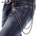 2016 Punk Men Women Fashion Jeans Wallet Chain Double Layers Trousers Chain Gun Color Pitch  Rivet Leather Waist Chain KB14