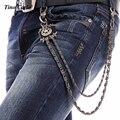 2016 Punk Mujeres de Los Hombres Jeans de Moda Billetera Cadena de Capas Dobles Pantalones Paso de Arma de Cadena de Color Cadena de La Cintura de Cuero Remache KB14