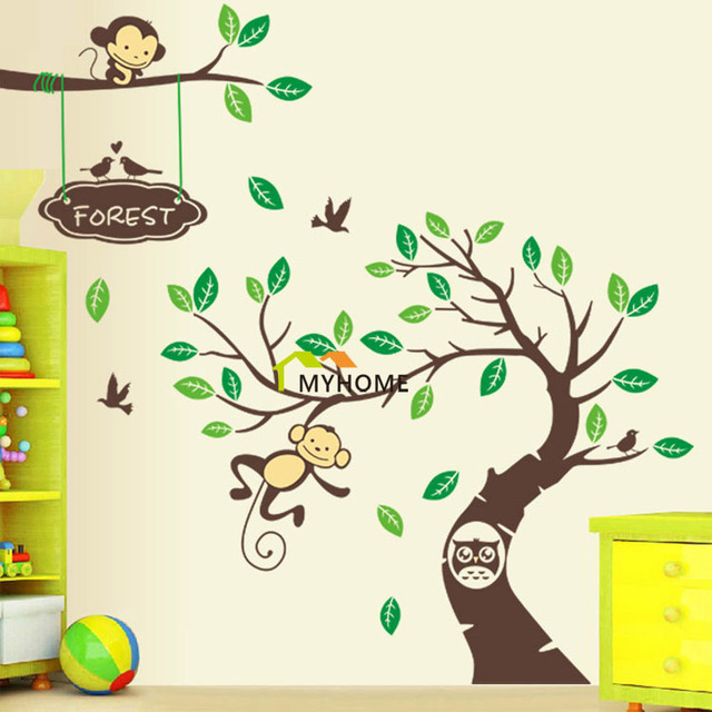 2 Pieces/Set Large Tree Wall Decal Monkeys On The Branch DIY Removable  Cartoon Child