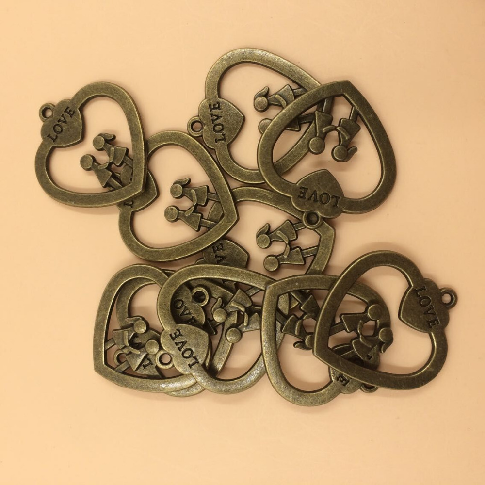 Heart Charms Antique Bronze Tone Love Heart Girl And Boy Charm Pendants 32x30mm 10pcs per lot (T387) 2015 New Free Shipping