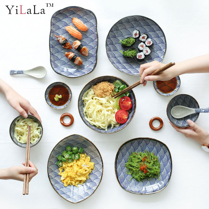 Yilala Ceramic Dish Japanese Style Kitchen Dinnerware Classical Plate Dishes Blue and White Bowl