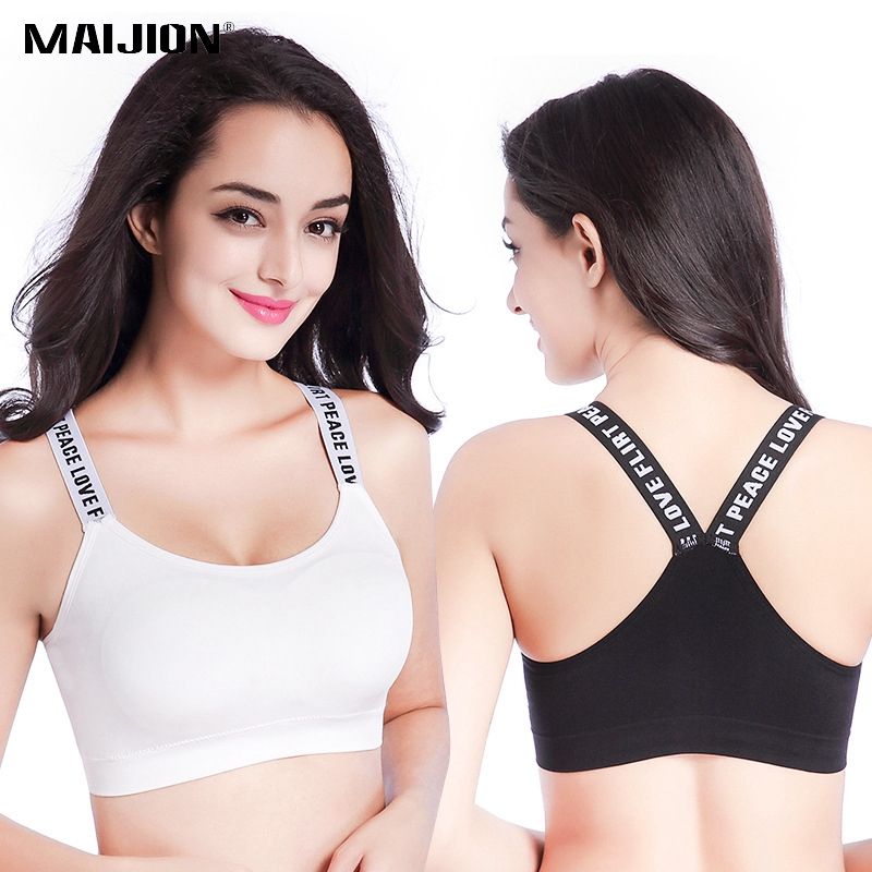 MAIJION Women Sexy Letters Straps Sports Bra ,Seamless Padded Gym Fitness Athletic Running Yoga Vest Bras Sports Tank Tops esd safe 75w soldering handpiece t245a solder iron handle for di3000 intelligent soldering station