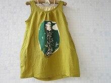 Дизайн Бренда оптовая 6 компл./лот хлопок и лен случайные колен желтый летом свободно платье девушка одежда набор 3 4 5 6 8 12 лет