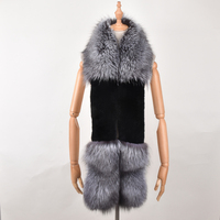 Natural Silver Fox Fur Rex Rabbit Scarf Luxury Fur Collar Winter Fashion Women Men Soft