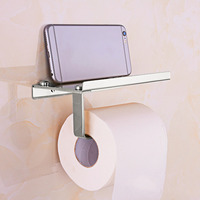 Silver Golden Stainless Steel Cell Phone Holder Towel Roll Paper Tissue Rack Hardware Accessory Great Bathroom