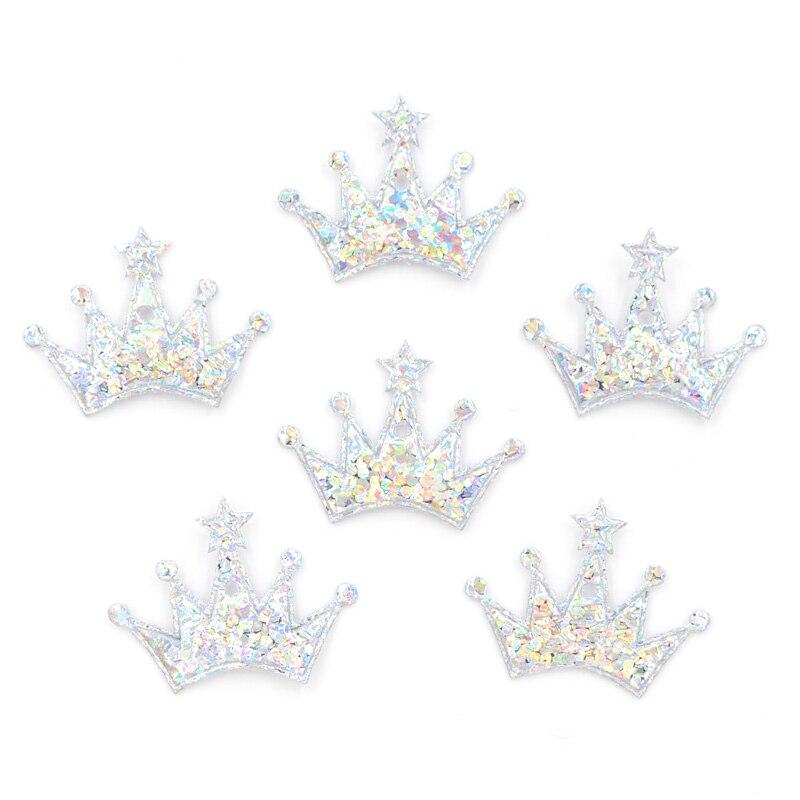 100 шт. 18*25 мм Красочные Серебряная корона ткань аппликация для Craft/свадьба/Костюмы Декор патч Скрапбукинг DIY аксессуары картой F11