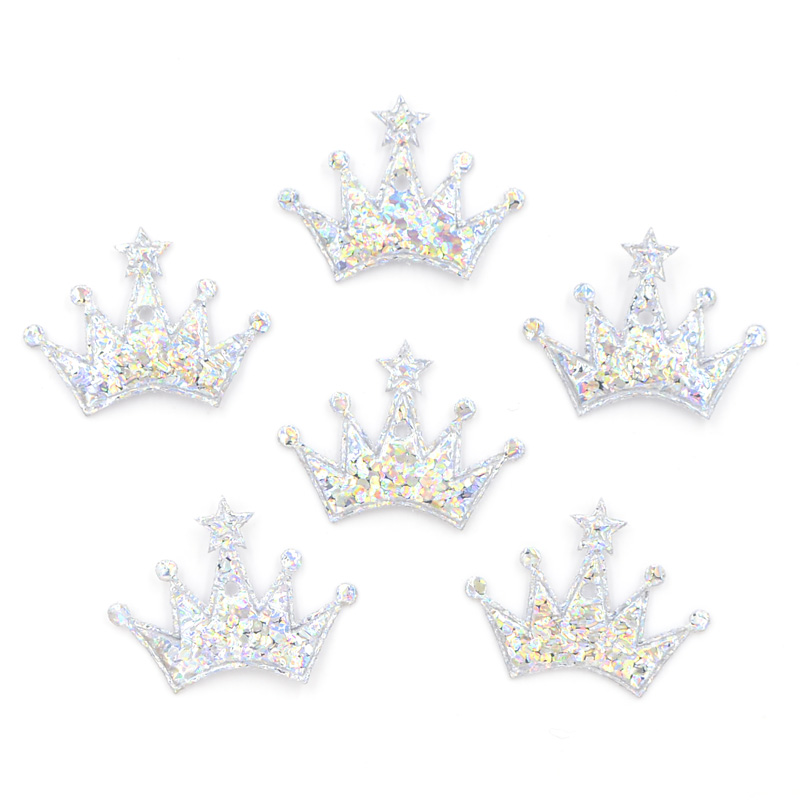 100Pcs 18*25mm Colorful Silver Crown Cloth Applique for Craft/Wedding/Clothing Decor Patch Scrapbooking DIY Card Accessories F11(China)