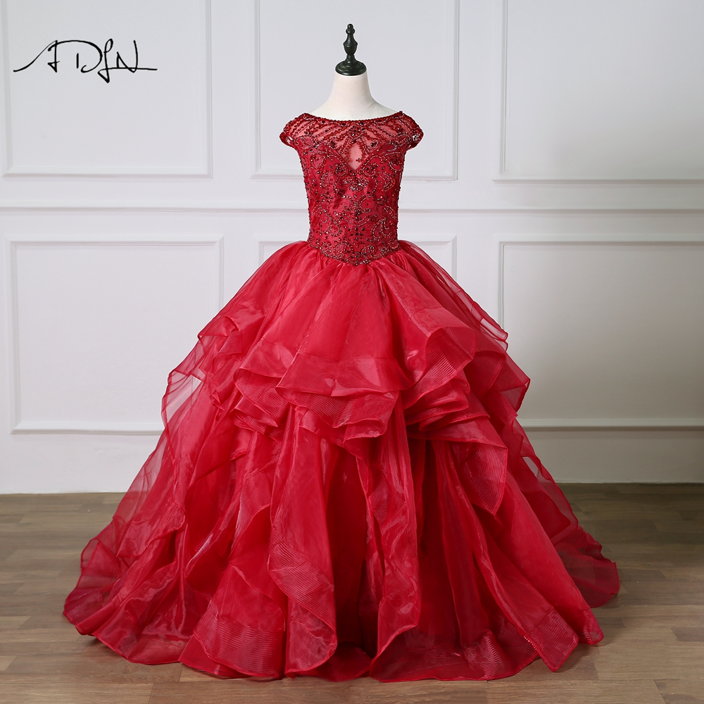 ADLN Scoop Cap Sleeves Ball Gown Quinceanera Dresses Sweet 16 Dress Sexy Open Back Luxury Crystals Debutante Gown 2019