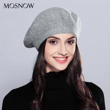 MOSNOW Wool Women'S Winter Hats Elegant New High Quality 2017 Fashion Autumn Winter Shining Knitted Berets Hats Caps  #MZ727