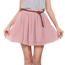 Candy Color New Cute Girl Fashion Summer Short Skirt Women 2017 High Waist double-layer Chiffon Female Casual skirts Womens