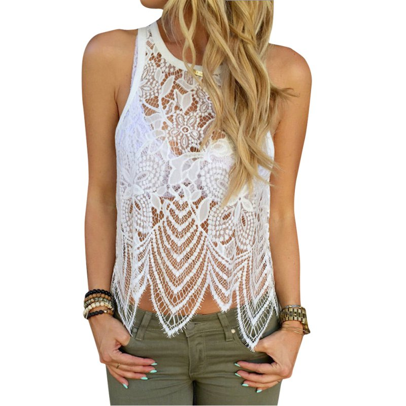 Summer Women <font><b>bSexy</b></font> Vest Hollow Out Fashion Plain White Lace Sleeveless Tops blusa feminino blouse image