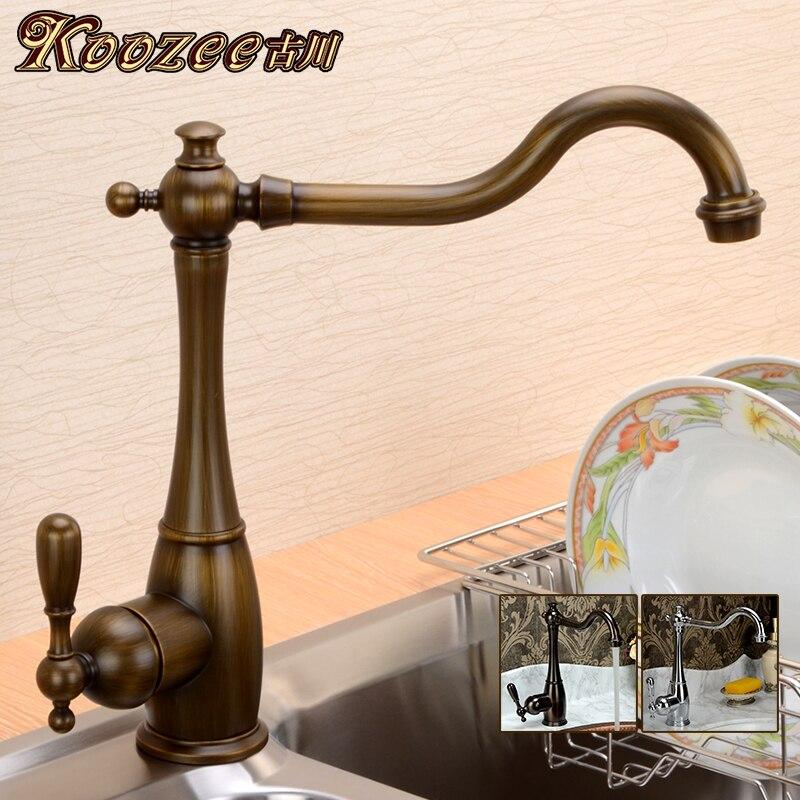 Robinet de cuisine antique de style ancien, cuivre pur chaud et froid, robinet de lavabo européen lavé rétro en cuivre vert - 2