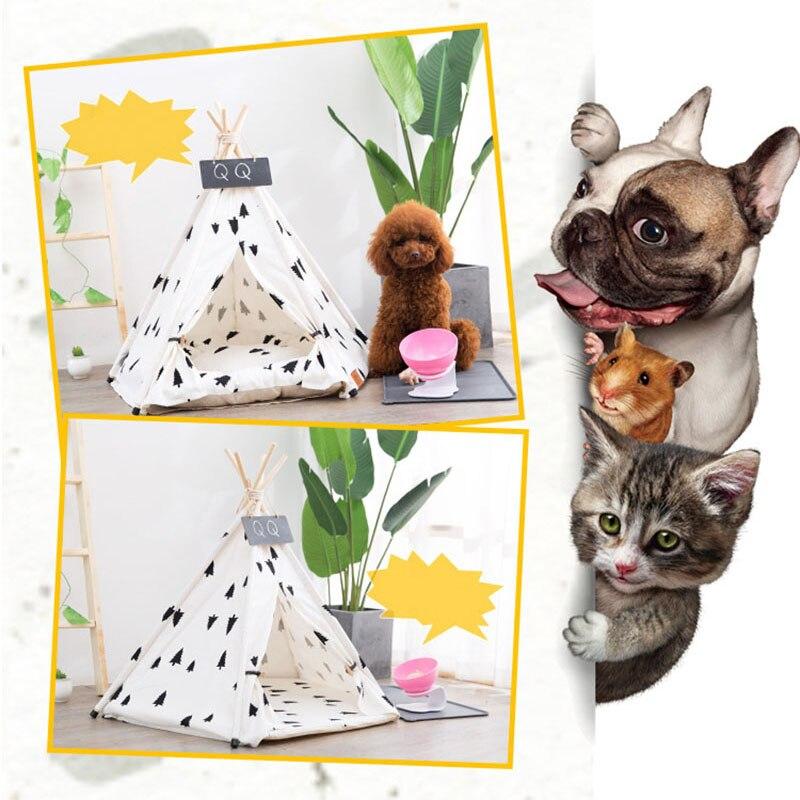 Купить с кэшбэком JORMEL Pet Tent Dog Cat Toy House Puppy Teepee Portable Washable Pet Bed Pine Pattern Contain Pet Mat 2019 New