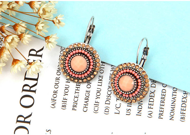 2016 Boho Antique Silver Plated Shining Crystal Rhinestone Resin Beads Round Clips Earrings Vintage Fashion Jewellery Lady Dress