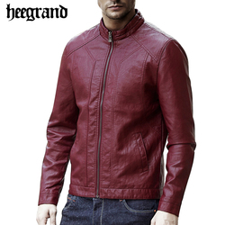 Hee grand new fashion pu leather jacket men black red solid men s casual coats slim.jpg 250x250