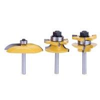 3pcs 1 4 Round Rail Stile Router Bits Set Cove Raised Panel Tools Wood Milling Cutter