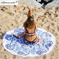 Yamala Summer Large Printed Round Beach Towels Green Round Hippie Tassel Tapestry Beach Throw Towel Yoga Mat Bohemian