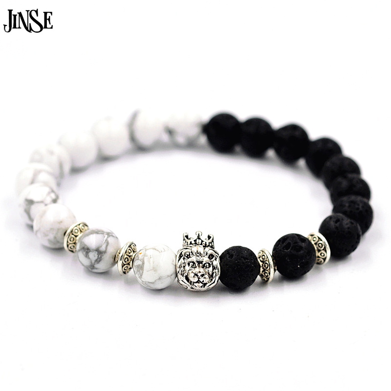 JINSE Natural Stones Silver Lion Charm font b Bracelets b font With Gold Crown Howlite Lava