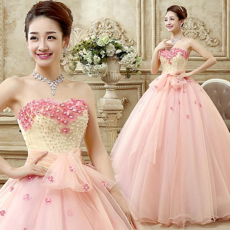 Nude Pink Quinceanera Dresses 2017 Organza Ball Gown New Flower ...