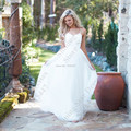 Robe De Mariage Beach Wedding Dresses Spaghetti Straps Puffy Chiffon Floor Length Lace Appliqued Sexy Bridal Dresses 2016