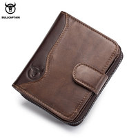 BULLCAPTAIN Genuine Leather Men   Wallet   Fashion Coin Purse Card Holder rfid   Wallet   Men Portomonee Male Clutch Zipper Clamp Money