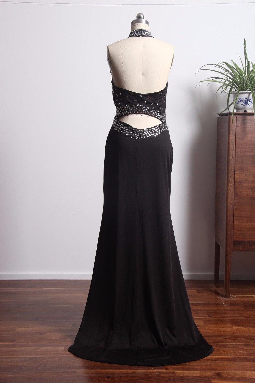 Fashionable Sexy Backless Evening Dresess Long 2018 Beaded Halter Black Party Dress For Women abiye gece elbisesi