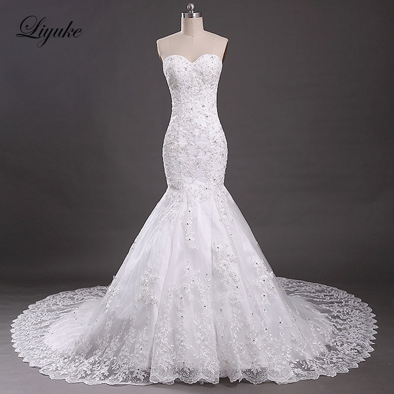 Elegant Embroidery Tulle Sweetheart Mermaid Wedding Dresses Appliques Beading Off The Shoulder Chapel Train Bridal Dresses