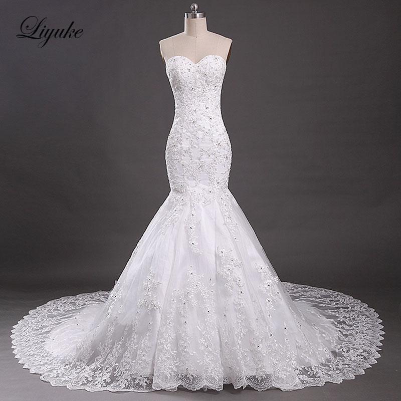 Elegante Tulle con cuello en V sin mangas de la sirena vestidos de - Vestidos de novia
