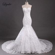 Elegáns tüll V-Neck ujjatlan hableány esküvői ruhák Appliques csipke gyöngyök udvar vonat esküvői ruhák Vestido De Noiva