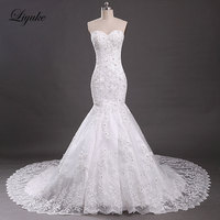 Thanh lịch Thêu Tulle Sweetheart Mermaid Wedding Dresses Appliques Beading Off The Shoulder Chapel Train Bridal Dresses