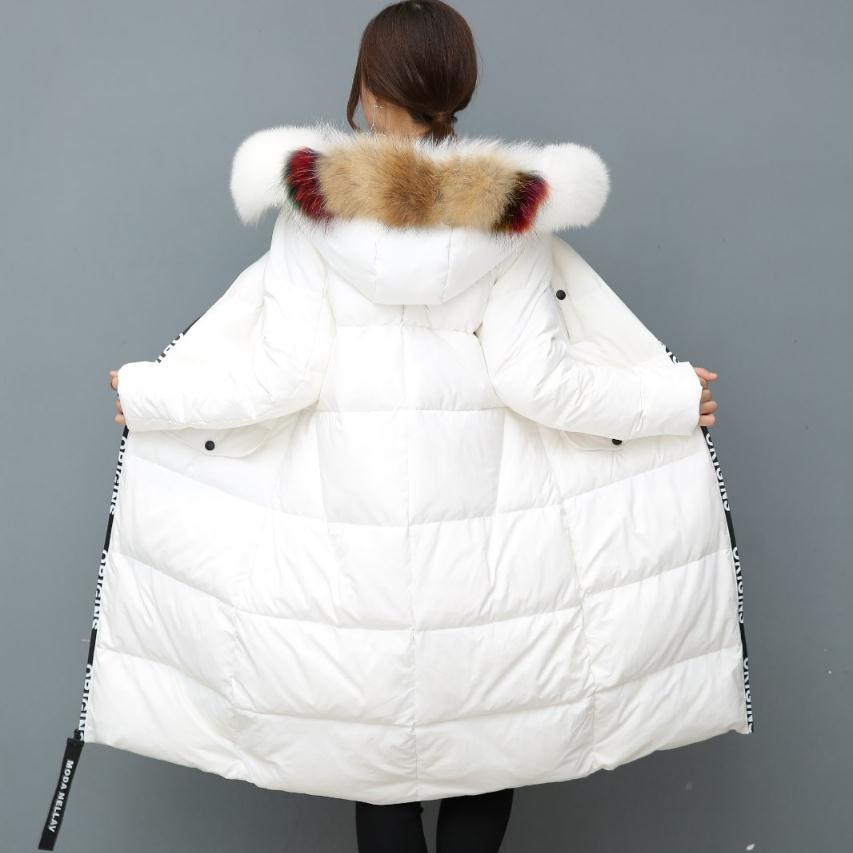 2018 winter new fashion brand colorful real fur collar 90% duck down jacket female longer thick down feather filler coat wj1159 high quality real fur female winter in the new middle aged down jacket women white duck down sundae feather thick coat l 5xl