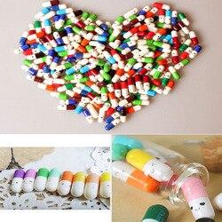 50 pçs/lote Moda Amor Pílulas Cápsula Cápsulas de Papelaria Desejando Garrafa Multicolor Cor Aleatória