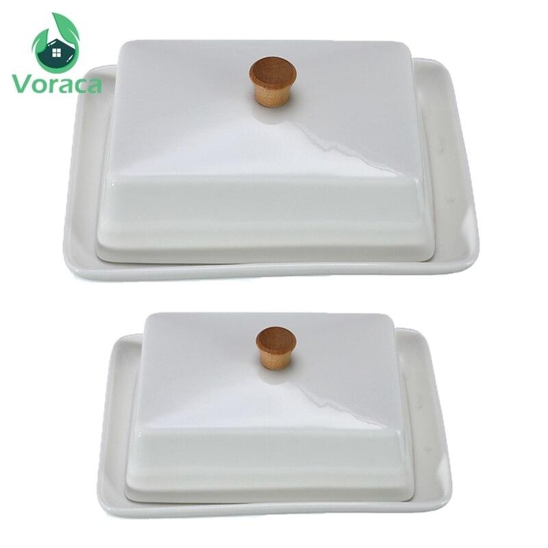 Blanc en céramique beurre plat Sushi plat fruits fromage assiettes Compote Cuisine exquis couverture boîte de rangement conteneur support 6/8 pouces