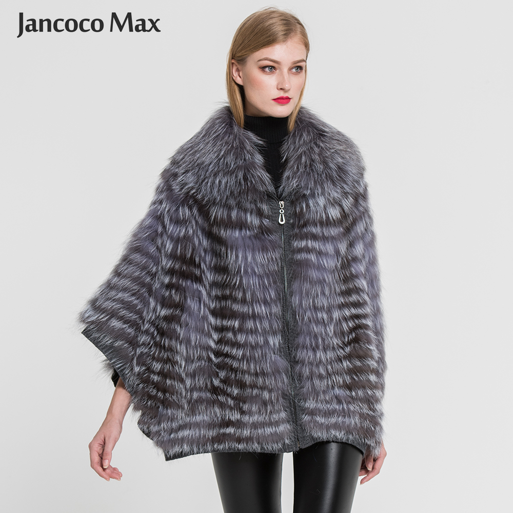 Qualité Style Manteau Naturelle Poncho Haute Automne Mode Nouvelle Fox Hiver S7383 Veste Véritable Fourrure Arrivée Silver De 50Sx7Sg