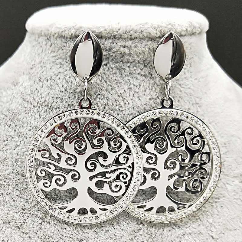 Tree Of Life Crystal Stainless Steel Stud Earring for Women Big Silver Color Earrings Jewelry pendientes mujer moda 2019 E612746 in Stud Earrings from Jewelry Accessories