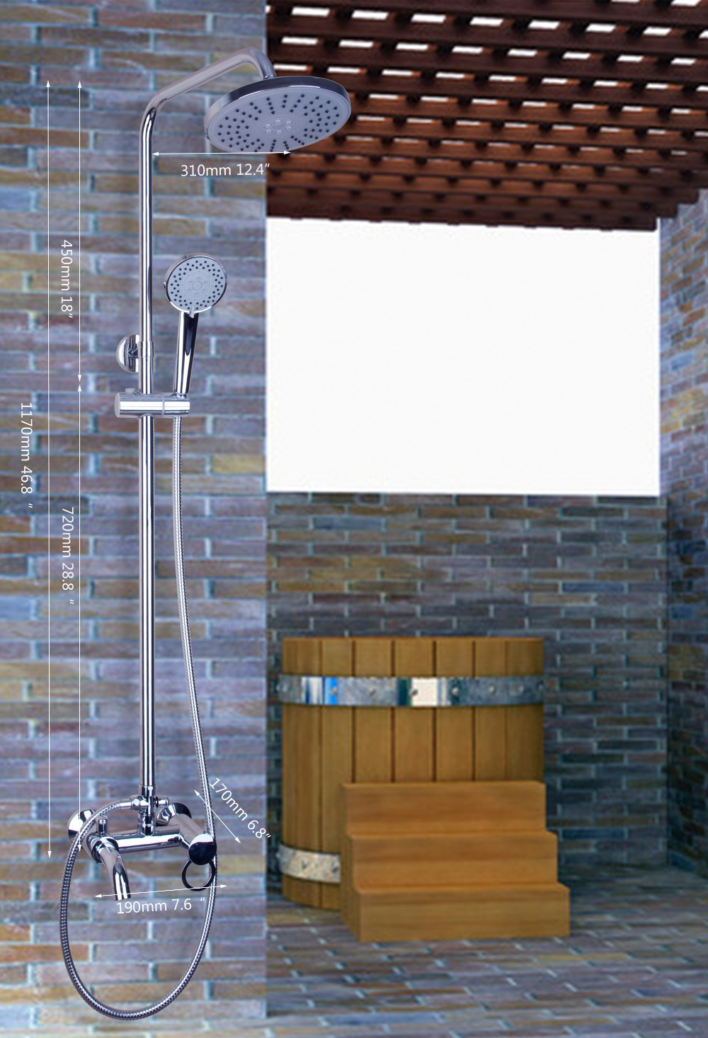 Hello Luxury Chrome Rain Shower Head Arm Bathroom Wall Mounted Shower Set Torneira 53002/1 Bathtub Chrome Sink Tap Mixer Faucet