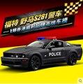 ГОРЯЧИЕ ПРОДАЖИ полиция 1:18 welly Ford Mustang S281 Оригинальный сплав автомобиль модели Игрушка Матовый Черный Fast & Furious ФБР